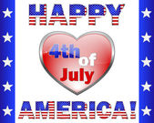 Happy 4th July America, greeting card. — ストックベクタ