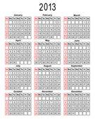 Template for calendar 2013. — Stock Vector
