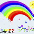 "Rainbow and painted the word ""Summer"". — Stock Vector"