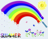 """Rainbow and painted the word """"Summer"""". — Stock Vector"""