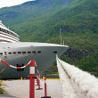 Cruise ship standing at the berth - Stock Photo