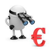 Robot looks in binocular on dollar — Stock Photo