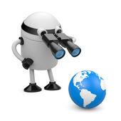 Robot explore the globe — Stock Photo