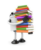 Robot with books — Stock Photo