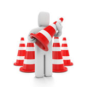 With traffic cones — Stock Photo