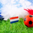 Orange Soccer ball and Dutch flag on grass — Stock fotografie