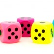 Five colorful dice — Stock Photo