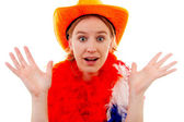 Dutch soccer fan in orange outfit who looks surprised — Stock Photo