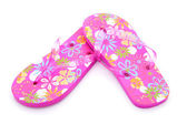 Růžové barevné letní pantofle — Stock fotografie