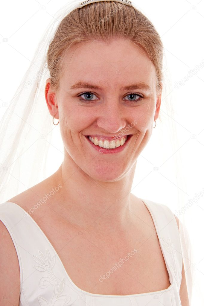 Young beautiful bride is posing over white background — Stock Photo #10895941