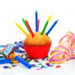 Birthday cupcake with lots of candles — Stock Photo