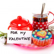Breakfast for my Valentine; cup of tea and cupcake — Stock Photo