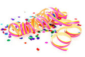 Colorful confetti and party streame — Stock Photo