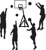 Basketball player silhouette vector — Stock Vector