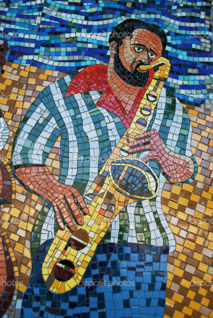 Detail of mosaic with saxophonist — Stock Photo #11312260