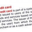 Credit card text highlighted in red — Stock Photo