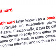 Debit card text highlighted in red — Stock Photo