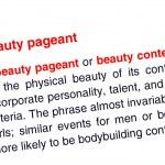 Schönheit Pageant Text rot markiert. — Stockfoto
