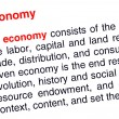 Economy text highlighted in red — Stock Photo
