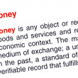 Money text highlighted in red — Stock Photo