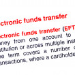 Electronic funds transfer text highlighted in red — Stock Photo