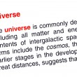 Universe text highlighted in red — Stock fotografie