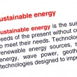 Sustainable energy text highlighted in red — Photo