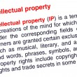 Intellectual property text highlighted in red - Foto Stock