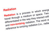 Radiation text highlighted in red — Stock Photo
