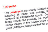 Universe text highlighted in red — Stock Photo