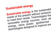 Sustainable energy text highlighted in red — Stock Photo