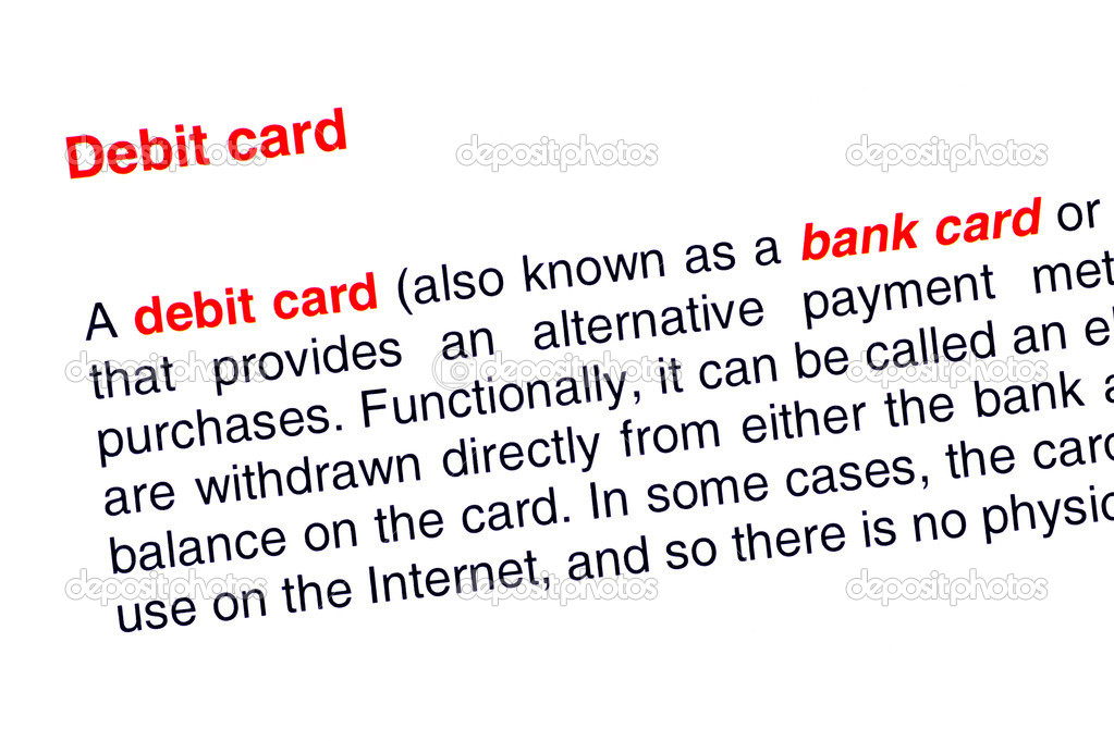 Debit card text highlighted in red under the same heading — Stock Photo #10980869