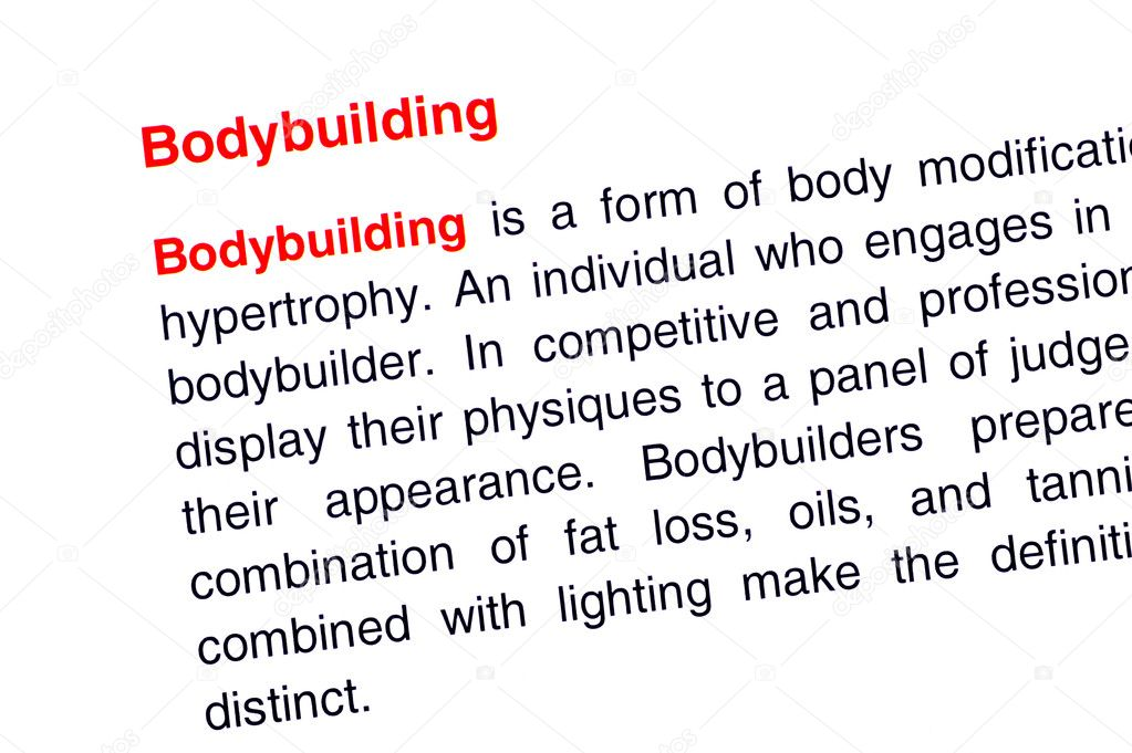 Bodybuilding text highlighted in red under the same heading — Stock Photo #10980876