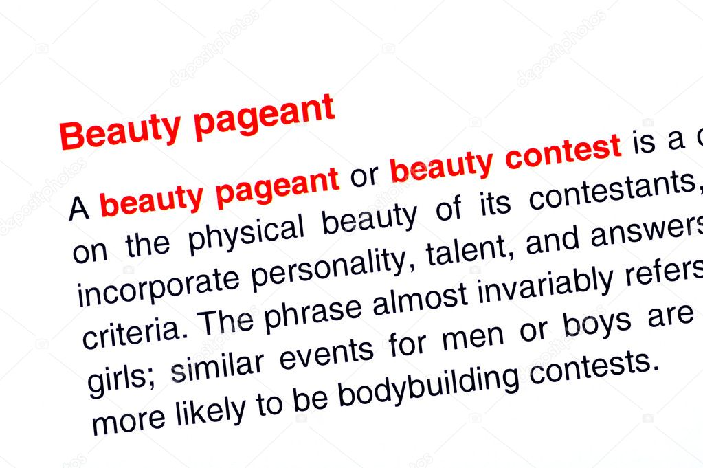 Beauty pageant text highlighted in red under the same heading — Stock Photo #10980884