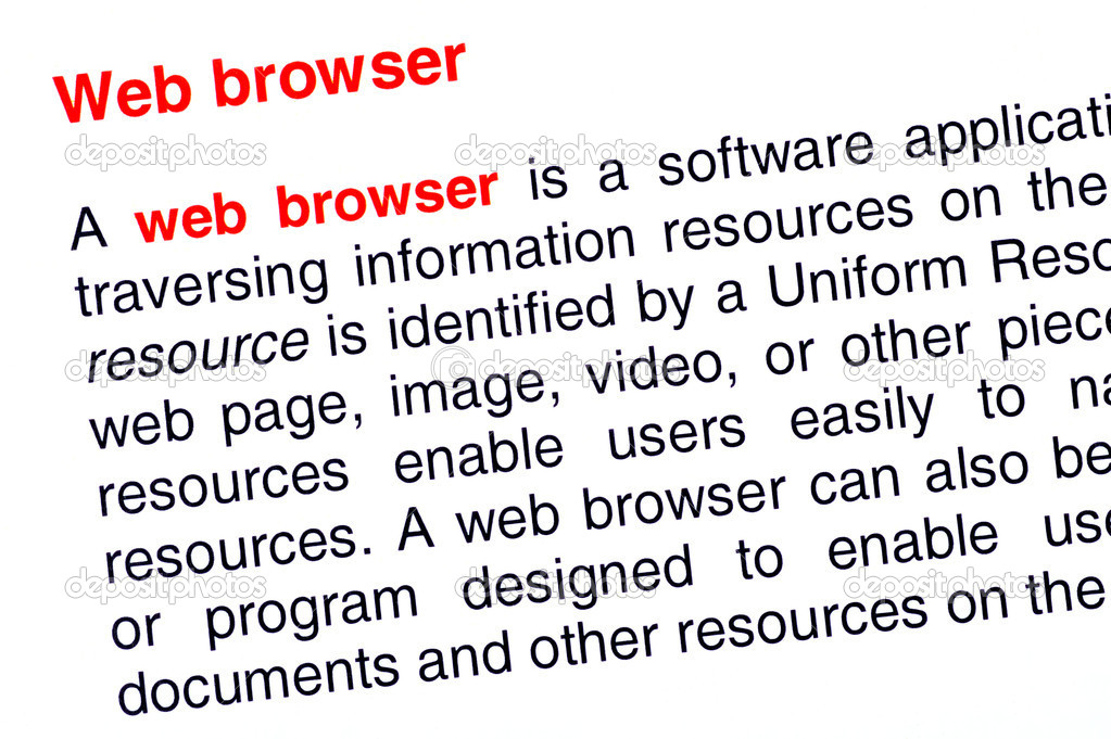 Web browser text highlighted in red under the same heading — Stockfoto #10984442