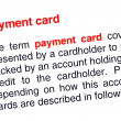 Payment card text highlighted in red — Stock Photo