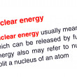 Stock Photo: Nuclear energy text highlighted in red