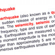 Stock Photo: Earthquake text highlighted in red