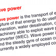 Stock Photo: Wave power text highlighted in red