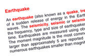 地震文本突出显示为红色 — 图库照片