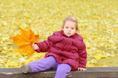 Toddler girl playing with autumn leaves — Stock Photo