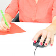 Sweet young business woman working in office — Stock Photo
