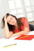 Portrait of beautiful tired business woman sleeping at her workp — Stock Photo
