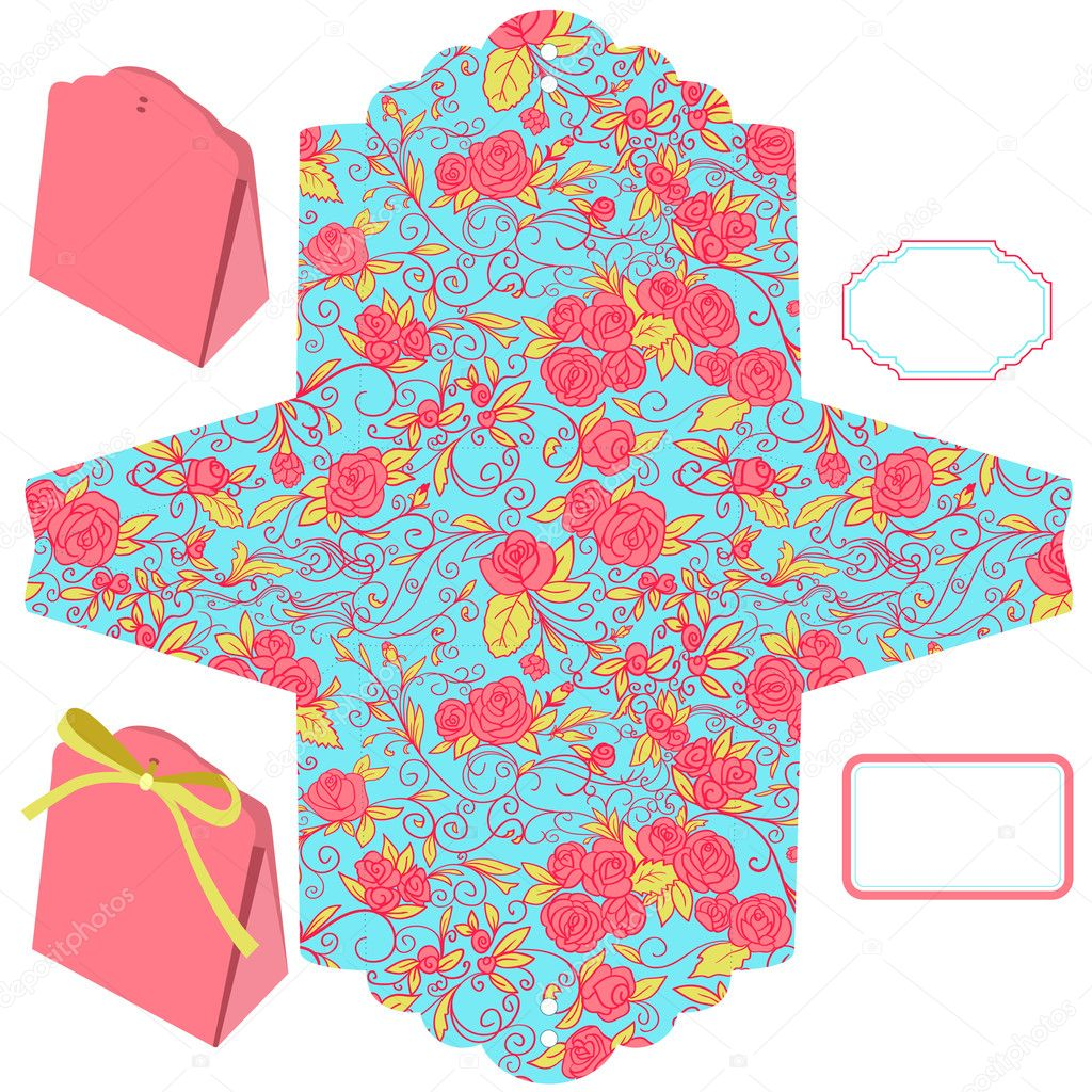 Box template. Floral pattern. Empty label. — Stock Vector #10762171