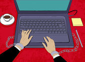Oficinista encadenado a la computadora portátil. exceso de trabajo concepto. — Vector de stock