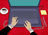 Pracownik biurowy, przykuty do laptopa. przepracowanie koncepcja. — Wektor stockowy