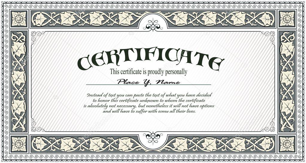 Certificate template stock illustration
