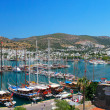 Panorama of the waterfront city of Bodrum in Turkey. - Stock Photo