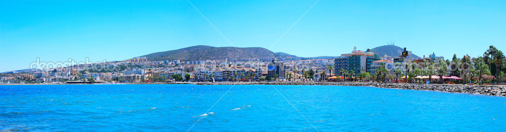 Panorama of the waterfront city of Kusadasi in Turkey.  Stock Photo #12206348