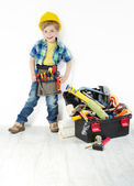 Little boy handyman in hard hat — Stock Photo